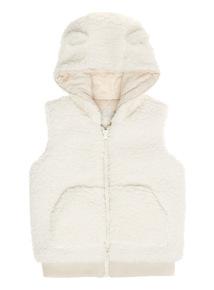 Cream Fur Hooded Gilet (0-24)