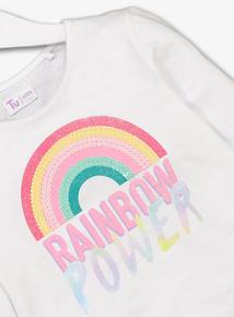White 'Rainbow Power' Sequin Top (3-14 years)
