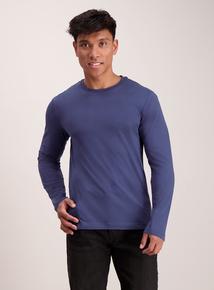 Blue Crew Neck Long Sleeve T-Shirt
