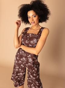 a8d13bb7f5a Premium Brown Linen Toile Du Jour Print Jumpsuit