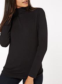 Black Long Sleeve Plain Roll Neck