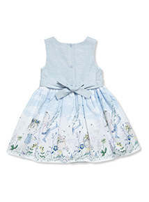 Blue Border Occasion Dress (9 months-6 years)