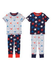 Boys Stars And Stripes PJ Set 2 Pack (1 - 12 years)