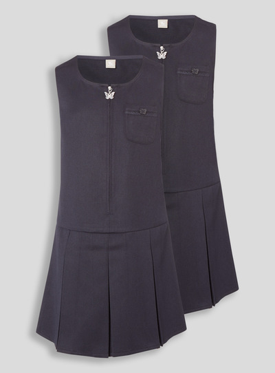 Navy Zip Through Generous Fit Pinafore 2 Pack (3-11 years)