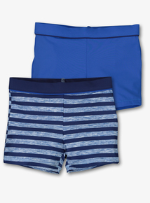 Blue Striped Swimming Trunks 2 Pack (3-12 Years)