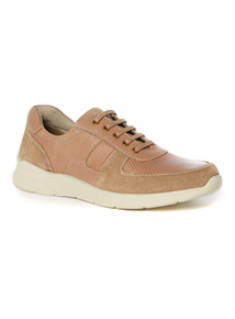 Stone Leather Perforated Trainers