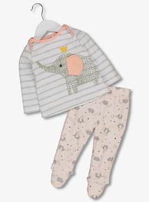 White & Pink Elephant Pyjamas