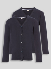 Navy Scalloped Cardigan 2 Pack (3-16 years)