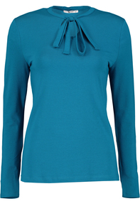Teal Keyhole Tie Neck Top