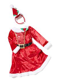 Red Christmas Santa Dress Costume (1-10 years)