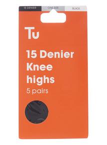 Black 15 Denier Knee Highs 5 Pack
