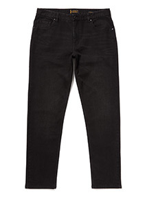 Black Denim Tapered Jeans With Stretch