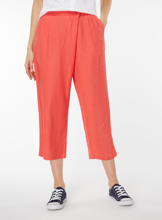 Linen Wrap Over Cropped Trousers