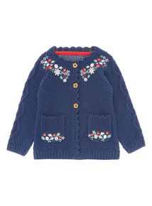 Girls Navy Embroidered Cardigan (0-24 months)