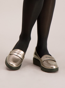 Sole Comfort Metallic Grey Slip On Loafers