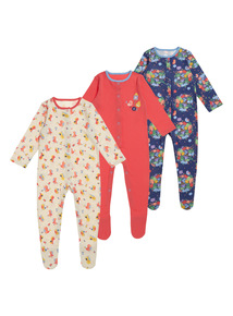 Girls Multicoloured Pear House Sleepsuit 3 Pack (0-24 months)