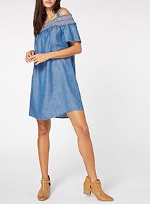 Denim Tencel Bardot Dress