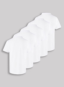 5 Pack White Polo Shirts