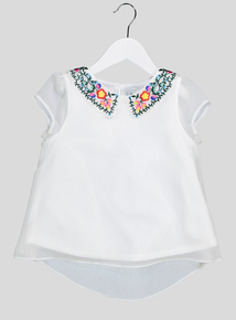 White Folk Embroidered Collar Top (3-14 years)
