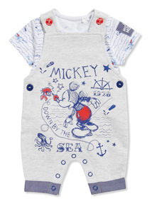 Grey Disney Mickey Mouse Jersey Bibshort and Body Set (Newborn - 18 months)