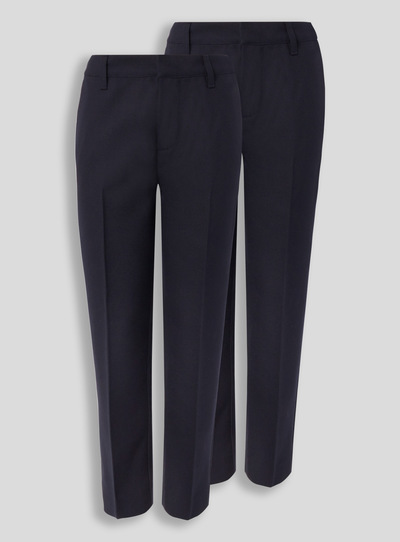 Navy Woven Plus Fit Trousers 2 Pack (3-12 years)