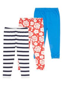 Girls Multicoloured Floral Leggings 3 Pack (9 months-6 years)