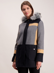 Multicoloured Hooded Colour Block Coat