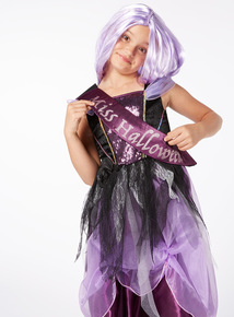 Purple Halloween Zombie Princess with Sash and Wig Outfit  (3-12 years)