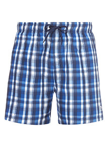 Online Exclusive Blue Checked Print Swim Shorts