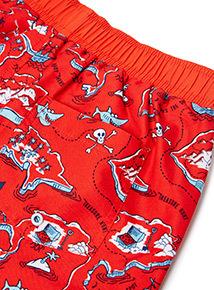 Red Shark Map Swim Shorts (1-12 years)