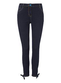 Dark Denim Ankle Bow Grazer Skinny Jeans