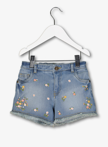 Blue Floral Denim Shorts (3-14 years)