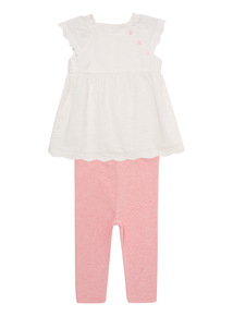 Pink Woven Top And Leggings Set (0 - 12 months)