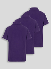 Unisex Purple Cotton Rich Polo Shirts 3 Pack (2-12 Years)