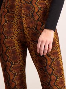 Dark Orange Snake Print Leggings