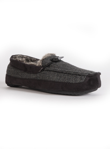3M Thinsulate Grey & Black Herringbone Slippers