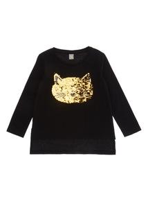 Black Halloween Sequin Cat Top (3-14 years)