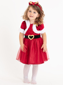 Christmas Miss Santa Claus Red Dress With Alice Band (1-10 years)