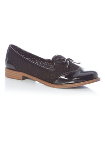 Black Laser Cut Slipper Brogue Loafer