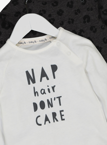 White & Grey Leopard & Slogan Print T-Shirts 2 Pack (0-24 months)