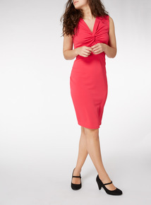 Online Exclusive Pink Knotted Front Midi Dress