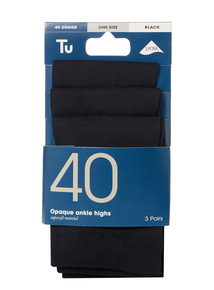 Black Opaque Ankle Highs 3 Pack