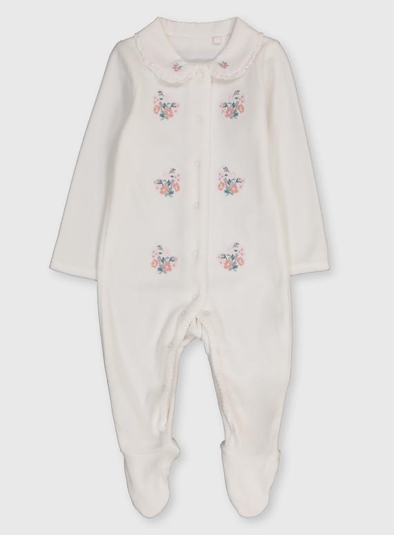 Velour floral sleepsuit