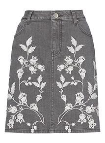 Floral Embroidered Denim Skirt
