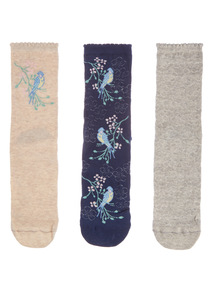 Floral Placement Ankle Socks 3 Pack