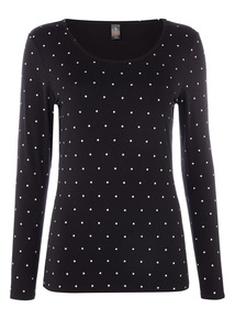 Polka Dot Thermal Long Sleeve Top