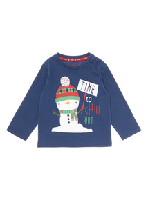 Navy Christmas Snowman Printed Tee (0-24 months)
