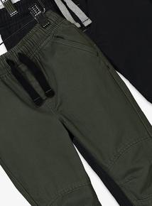 Khaki & Black Woven Joggers 2 Pack (1- 6 years)