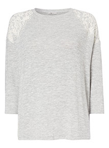 Lace Shoulder Knitted Top