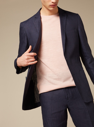 Premium Navy Deconstructed Linen Slim Fit Jacket